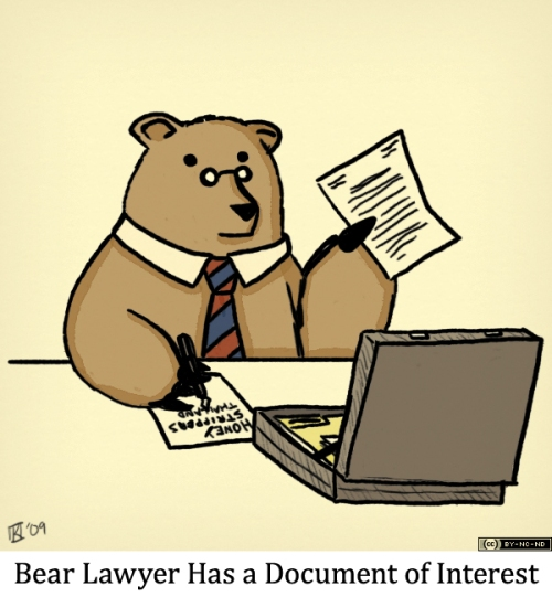 Bear Lawyer Has a Document of Interest