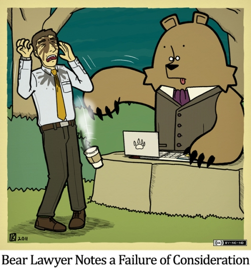 Bear Lawyer Notes a Failure of Consideration