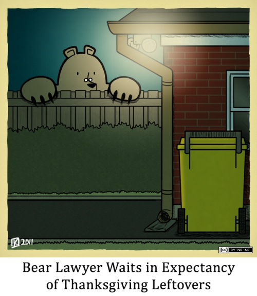 Bear Lawyer Waits in Expectancy of Thanksgiving Leftovers