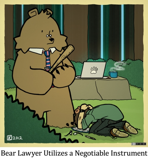 Bear Lawyer Utilizes a Negotiable Instrument